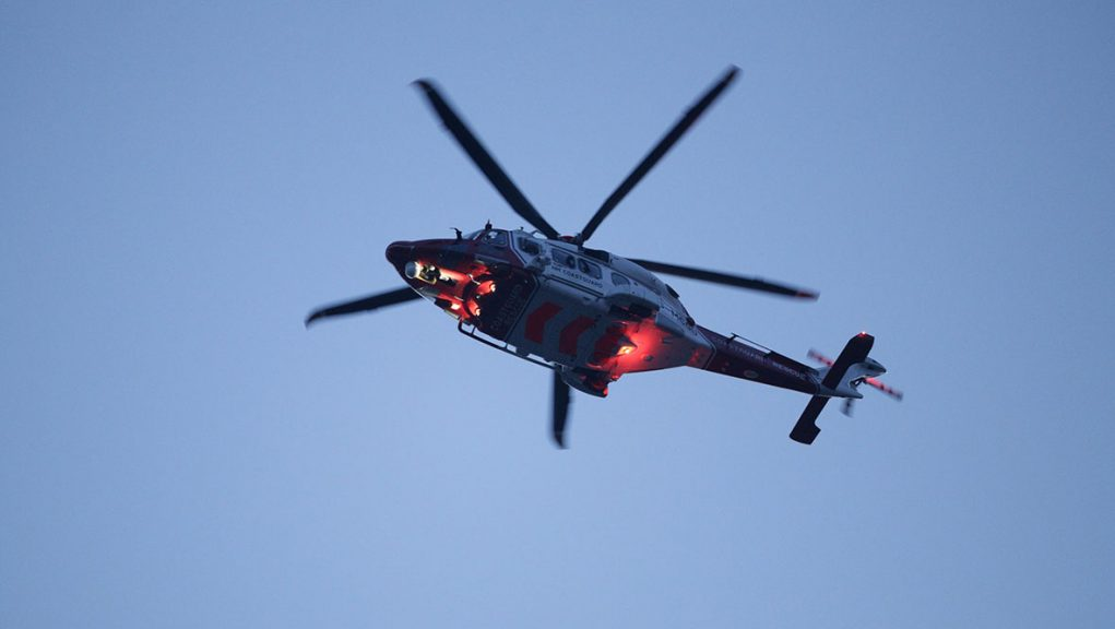 A Coastguard helicopter went to the scene.