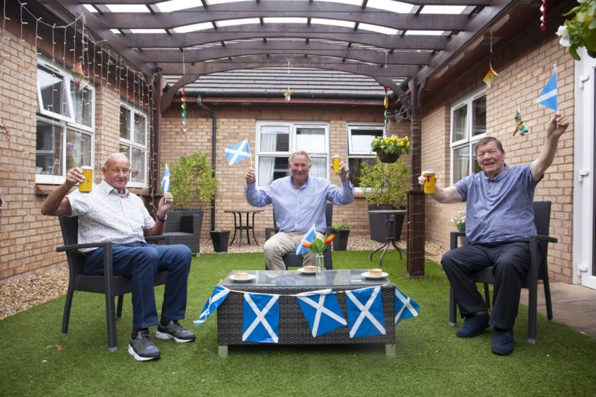 Visit: Alan Rough meets with care home residents ahead of Euro 2020 clash with England.