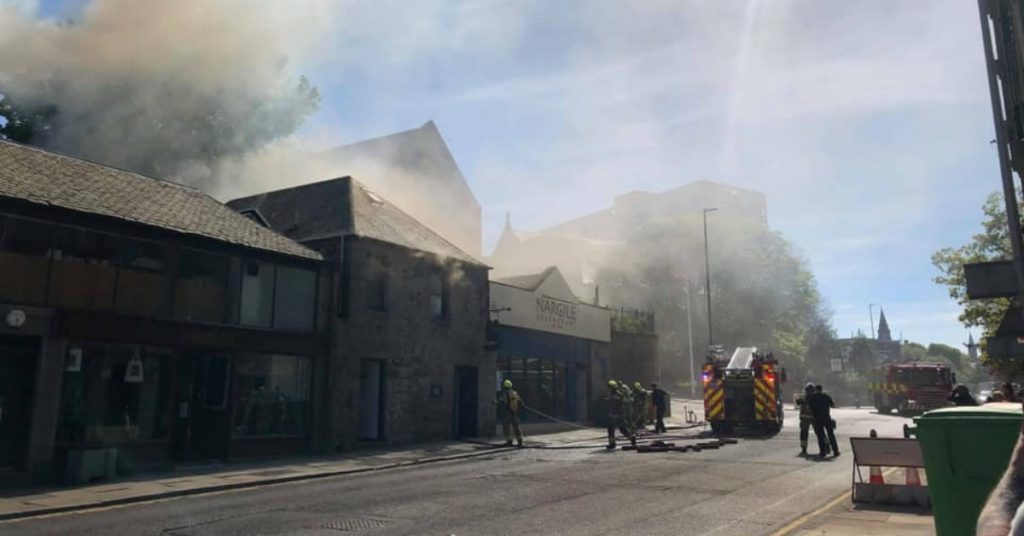 It is reported that the fire is in the flat above the Turkish restaurant.