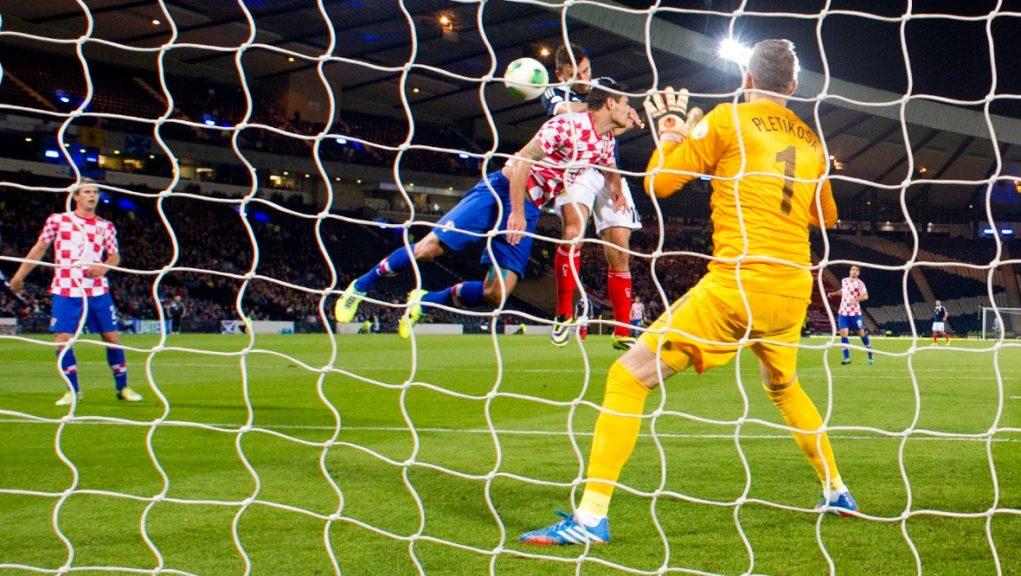 Robert Snodgrass puts Scotland in front against Croatia at Hampden in 2013.