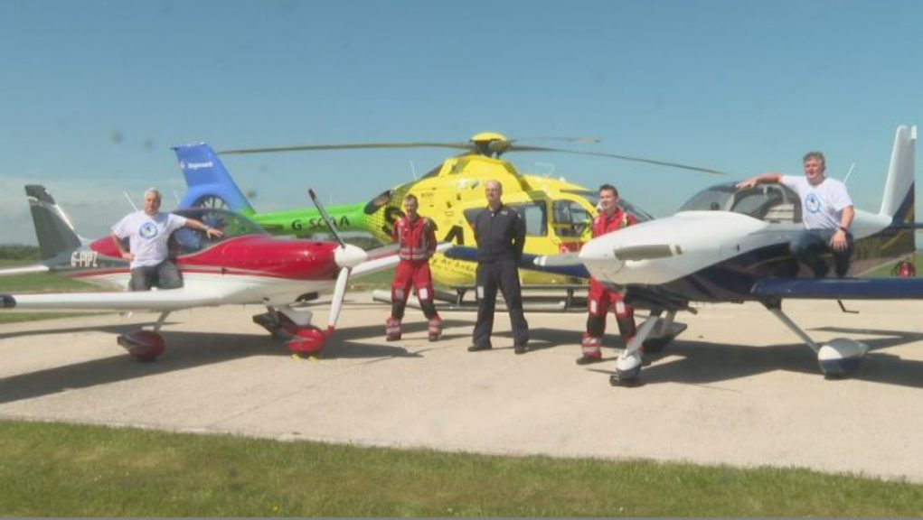Flying high: Tommy Lorimer and Robert Stalker completed a fundraising challenge for Scotland's Charity Air Ambulance.