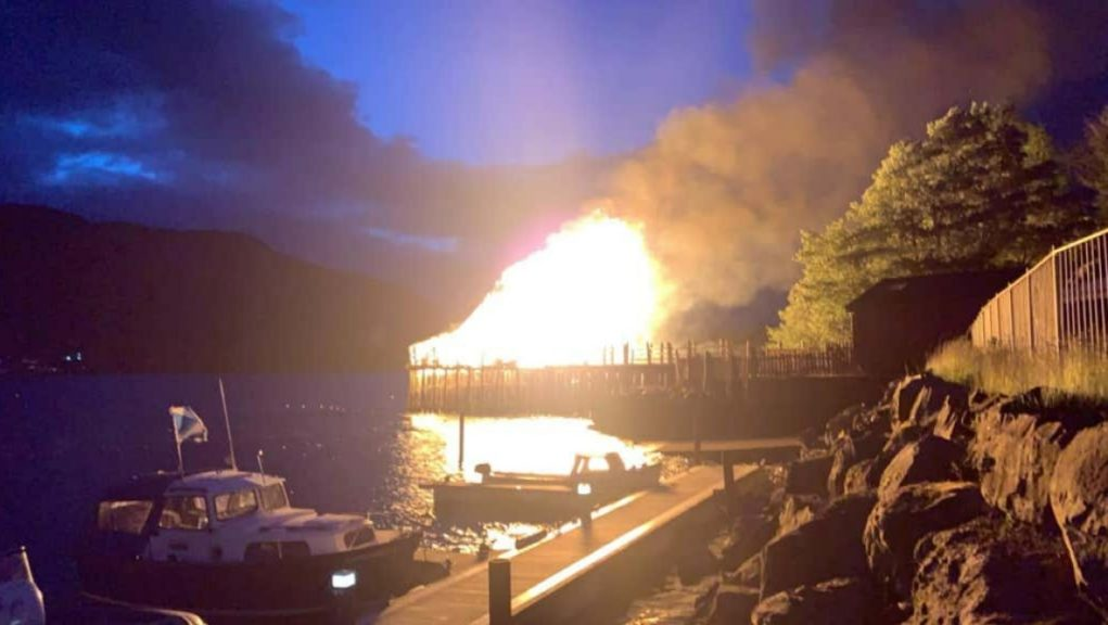 Blaze: The Scottish Crannog Centre went up in flames on Friday night.