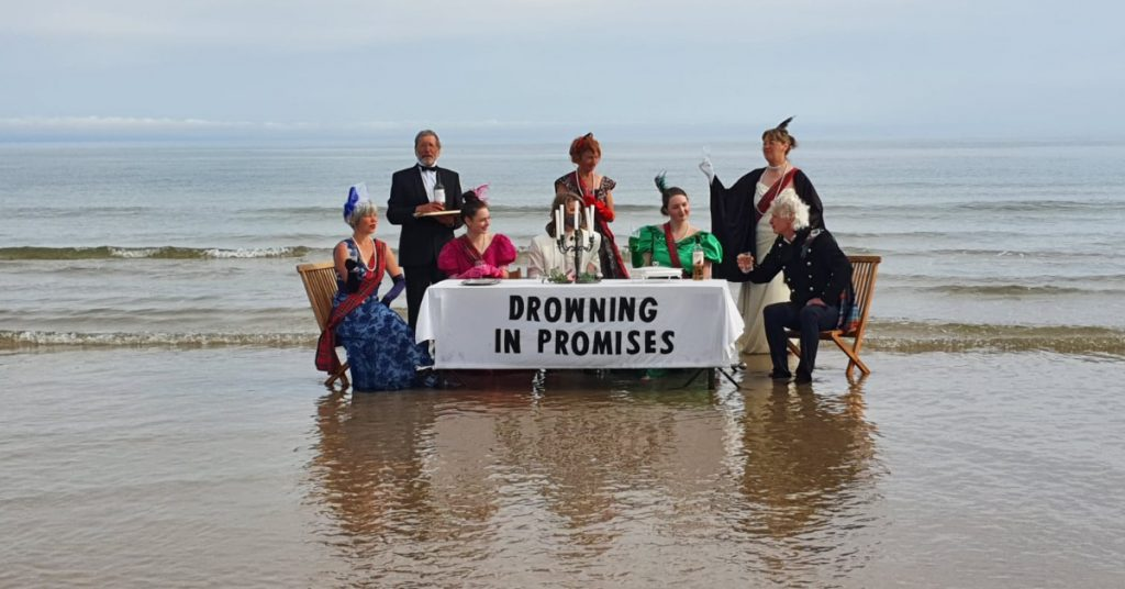 Protest: Demonstrators dressed up for dinner at Findhorn Beach, Forres.
