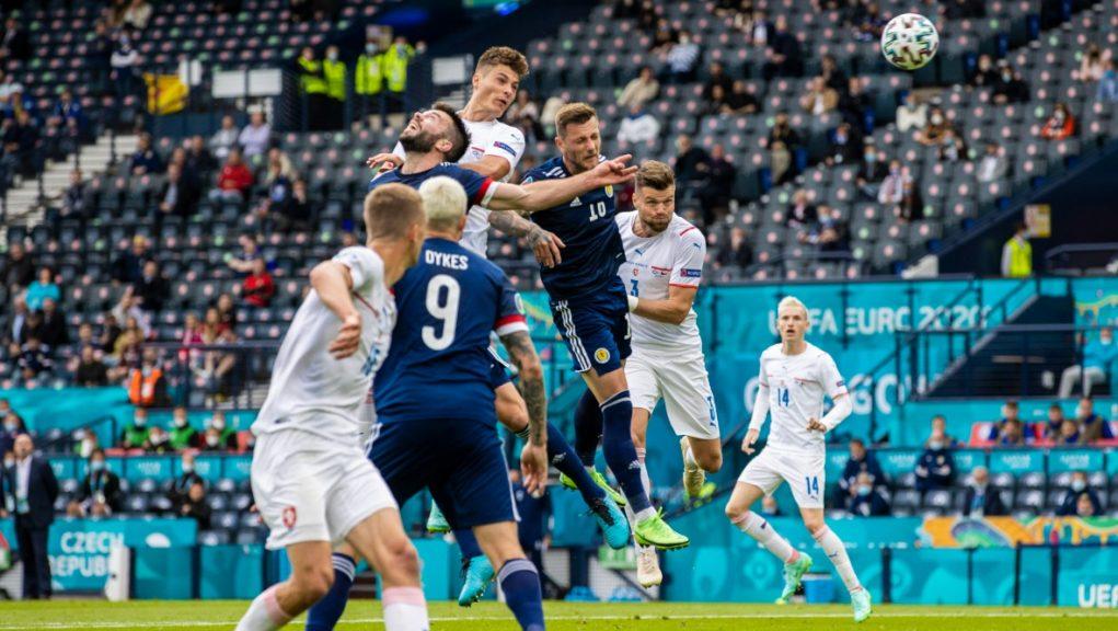 Opener: Schik puts the Czechs 1-0 up.