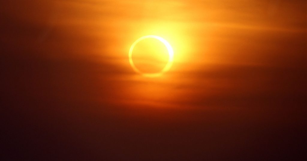 The event, known as an annular eclipse, will leave only a thin ring of sunshine visible in some parts of the world.
