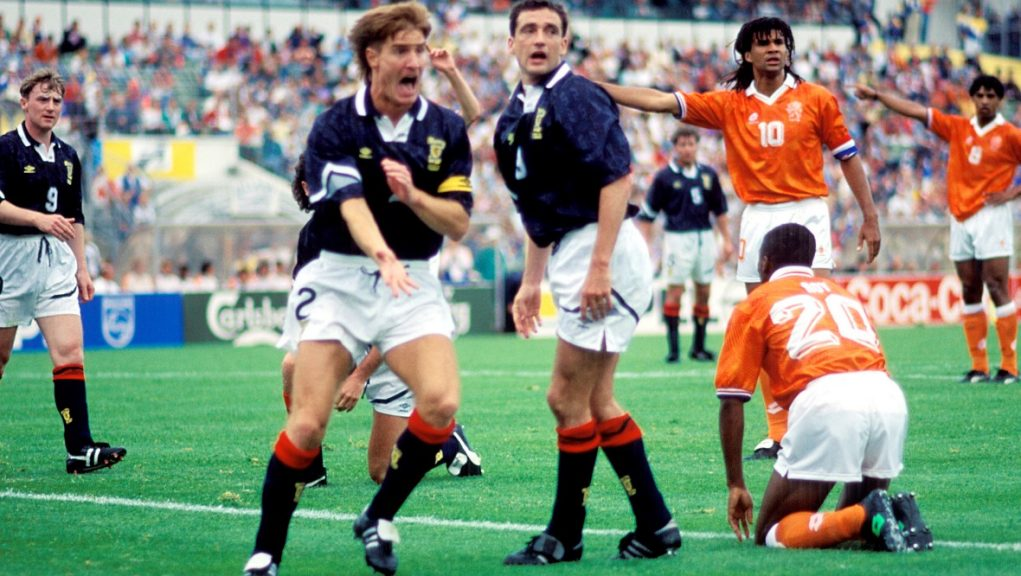 Richard Gough appeals for a foul against Holland at Euro 92.
