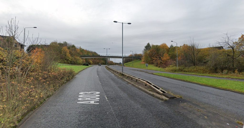The A803 Springburn Road was closed between Huntershill Street and Hawthorn Street.