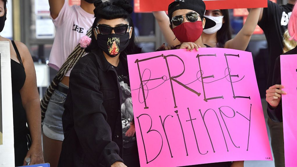 Supporters of Britney Spears attend the #FreeBritney Protest Outside Los Angeles Courthouse.
