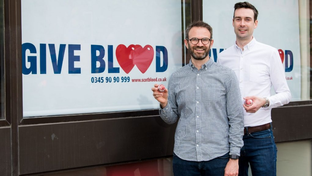 New blood donors: Married couple Steven Smillie and Tyler McNeil at Edinburgh Blood Donor Centre.
