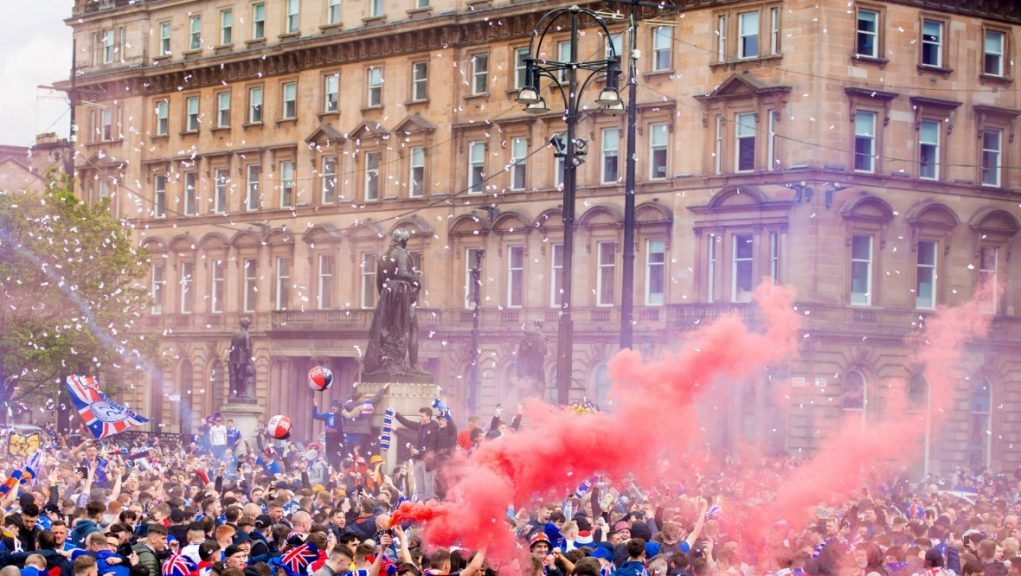 Glasgow: Rangers fans gathered in George Square last month.