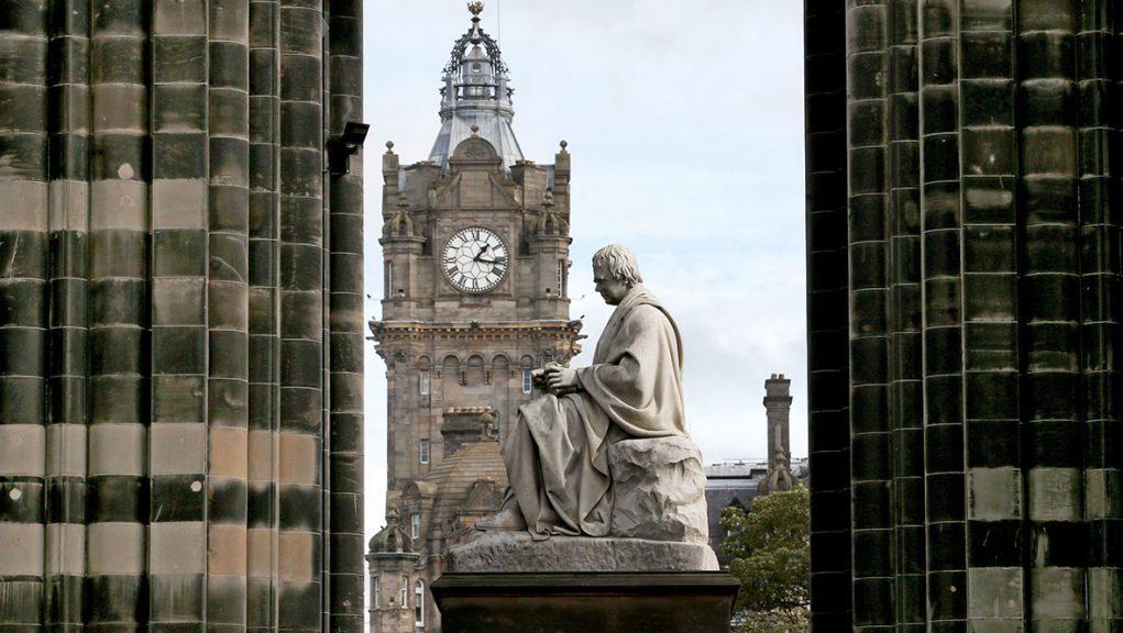 The statute of Sir Walter Scott at the Scott Monument built in his memory in Edinburgh.