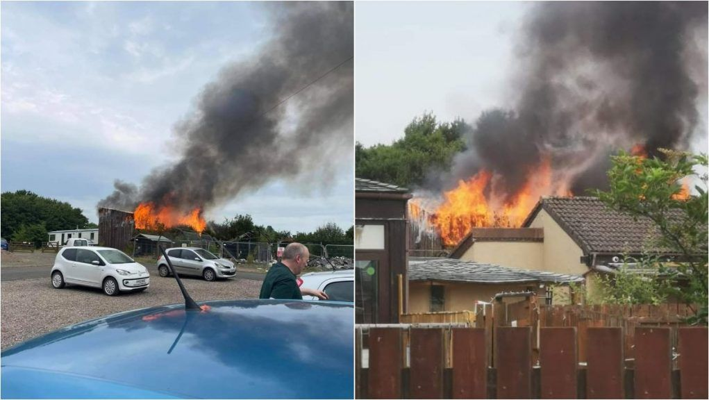 Firefighters tackle fire at zoo.