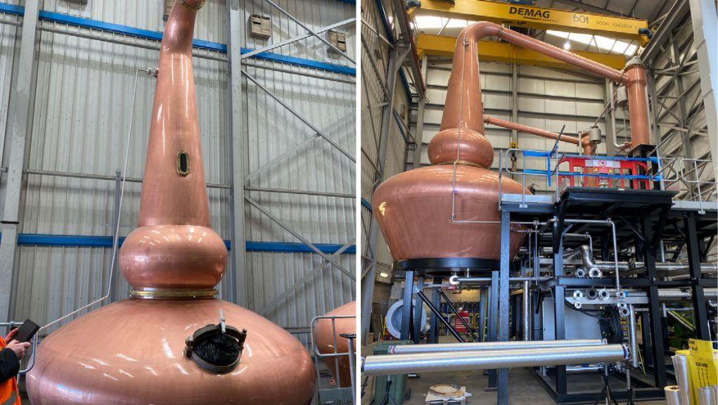 Containers filled with copper stills, vessels, and 1.3km of pipework will be sent to a site in Inner Mongolia.