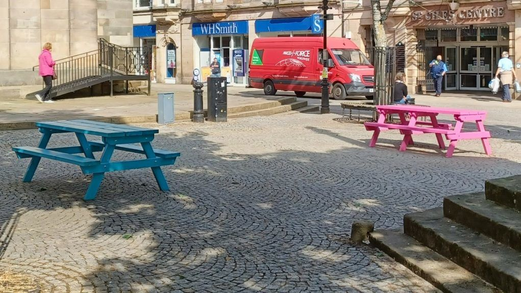 Colourful: Elgin Community Council has defended the new benches.