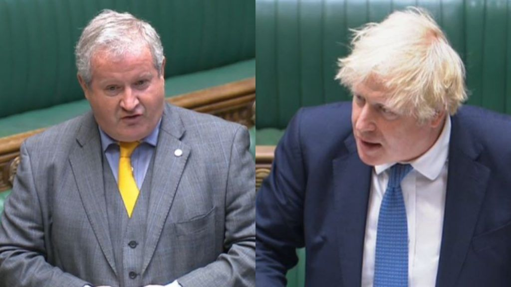 Ian Blackford challenged Boris Johnson over his past remarks during exchanges at Prime Minister's Questions.