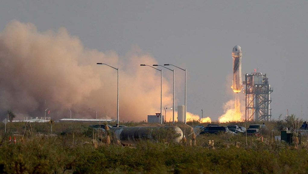 The New Shepard Blue Origin rocket lifts-off from the launchpad in Van Horn, Texas.