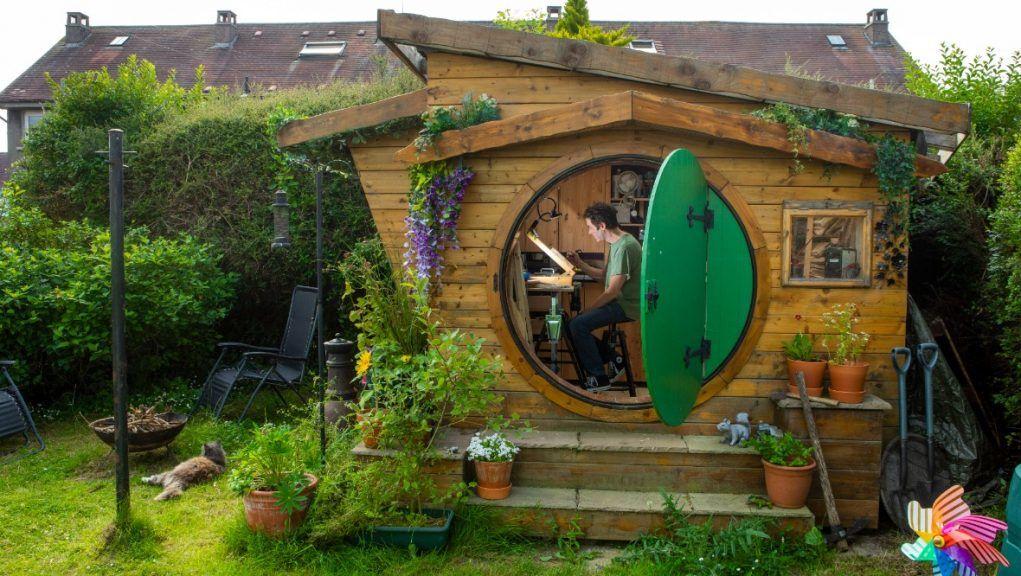 Ali Hughson has built a 'Hobbit house' as a workshop.