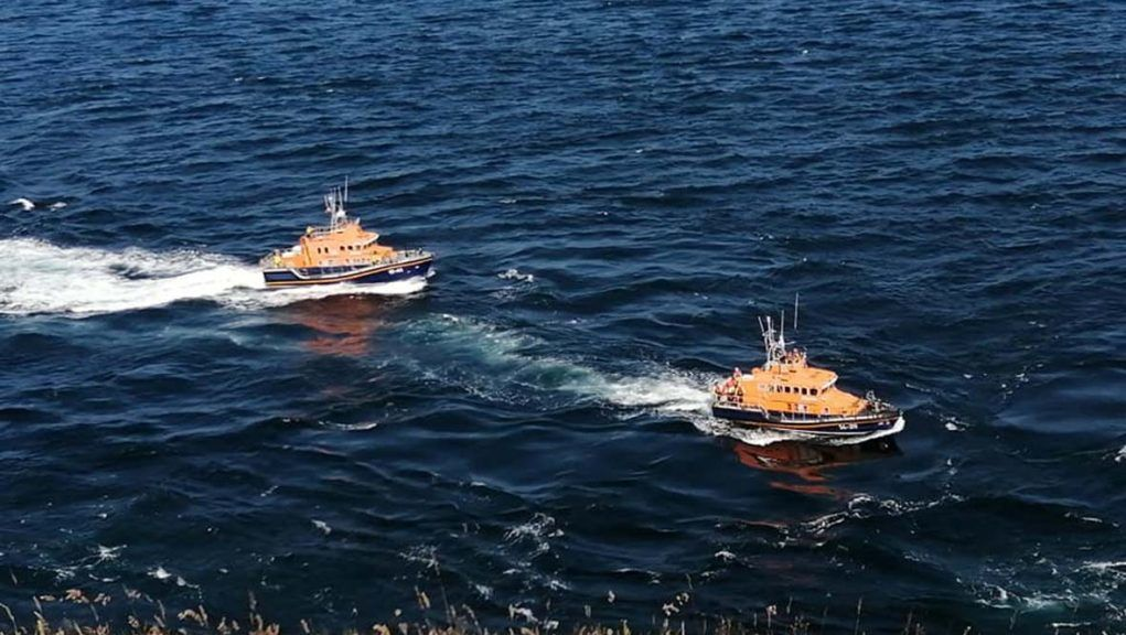 Kayakers were rescued from the Pentland Firth on Sunday.