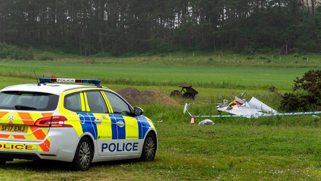 Police at scene of glider crash.