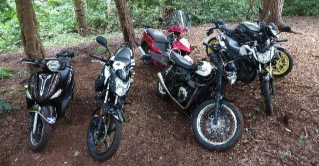 Edinburgh police recovered six stolen motorbikes.