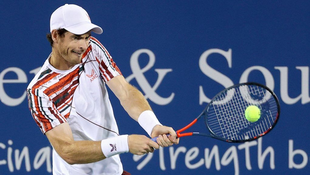 Murray in action against Gasquet at the Western and Southern Open in Ohio.