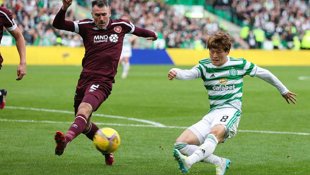 Furuhashi scoring to put Celtic 3-1 ahead against Hearts on Sunday.