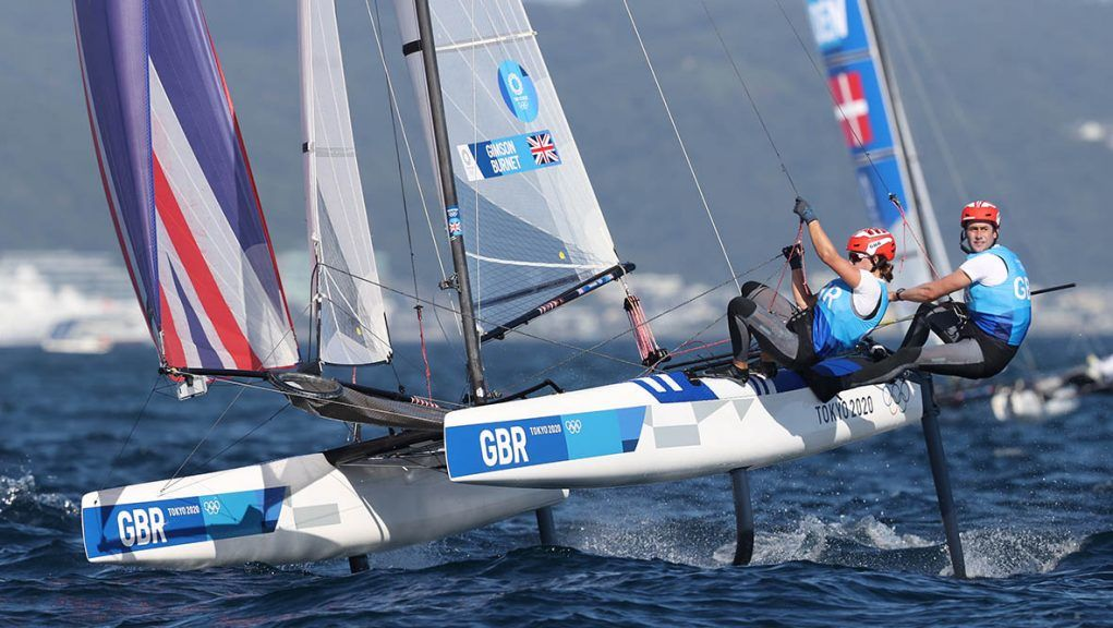 John Gimson and Anna Burnet of Team GB competing in the Nacra 17 Foiling class.