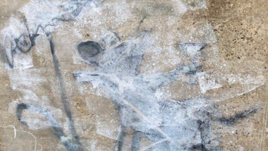 Vandalised: Banksy artwork defaced by vandal.