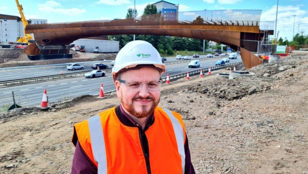 Councillor David McDonald visiting the new bridge.