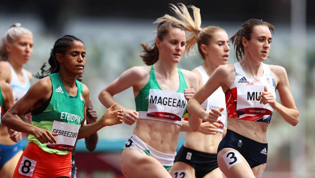 Laura Muir in action during round one of the women's 1500m heats.