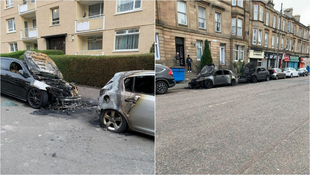 Burnt-out vehicles in the Pollokshields area of Glasgow.