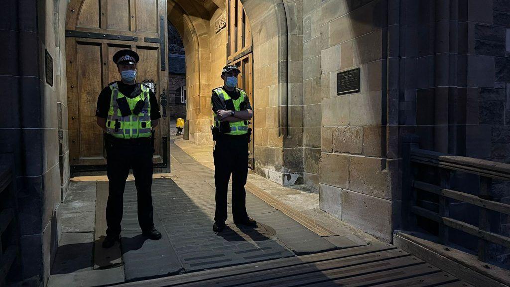 Protest: Officers at Edinburgh Castle.