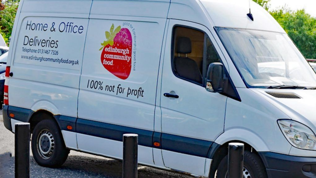 Thieves stole food charity's delivery van.