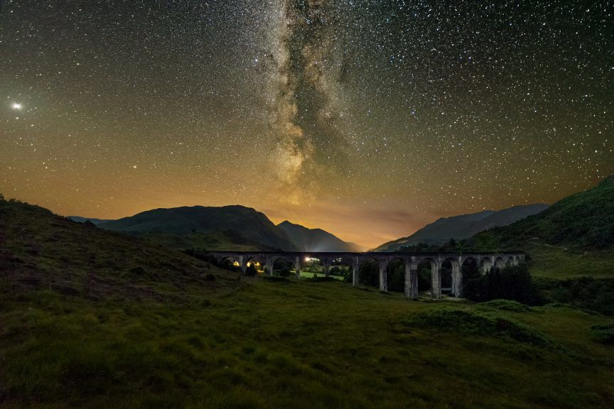 Sylvan Buckley pictured the moment the core was seen through the clear night sky above the Glenfinnan Viaduct.
