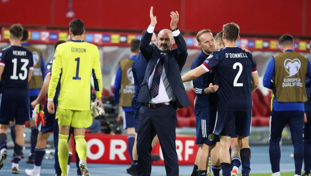 Steve Clarke celebrates Scotland's crucial win against Austria in Vienna in September.