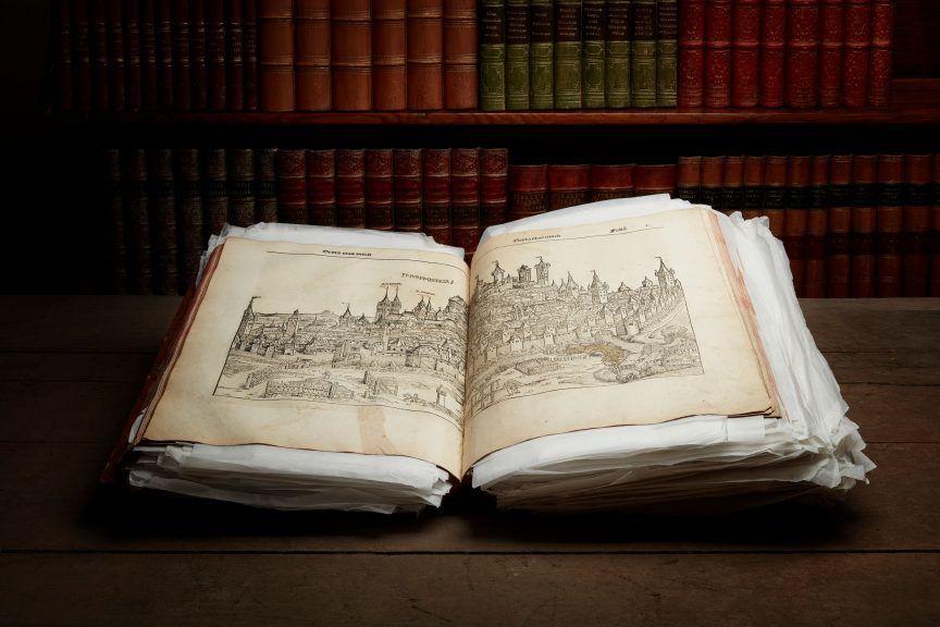 The publication is a copy of the Nuremberg Chronicle produced in 1493.