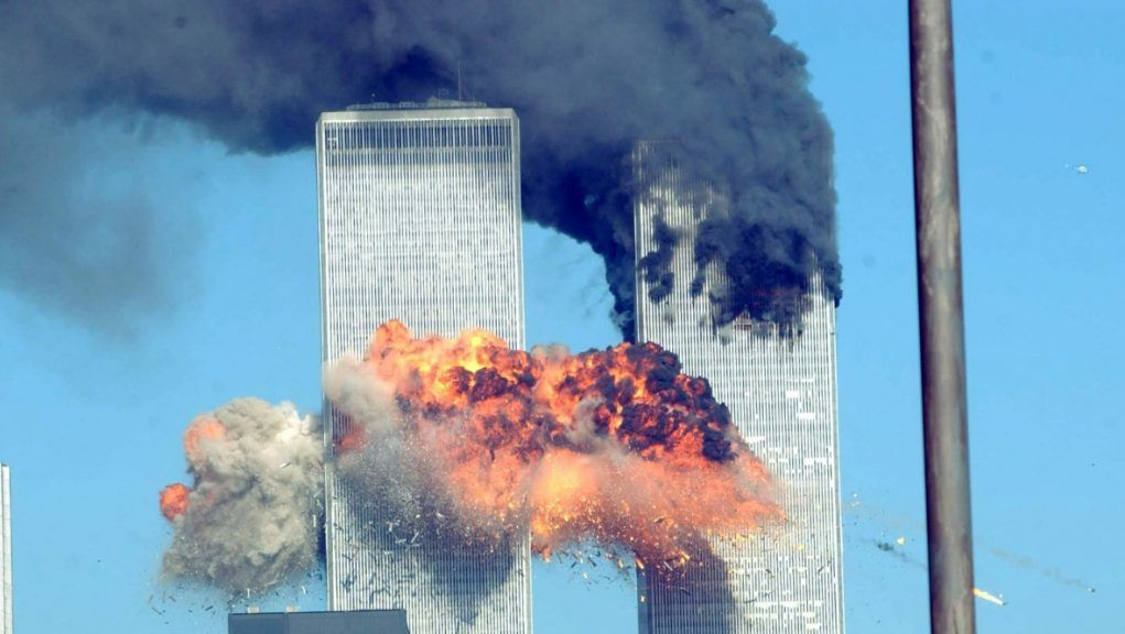 The explosion after the second plane crashed into the south tower.