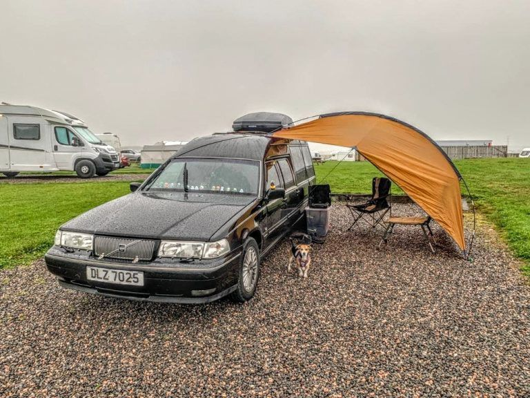 Couple tour NC500 in converted hearse.