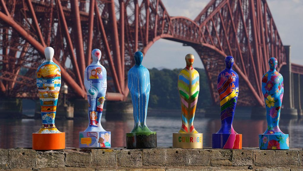 Some of the sculptures from the art installation Gratitude at The Forth Bridge at North Queensferry.