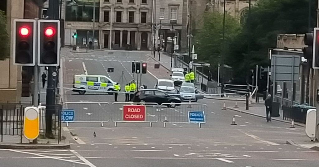 The car then drove towards Lothian Road where it crashed with a bus.