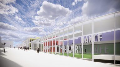 Artist's impression of £45m theatre, library and advice hub on Falkirk's High Street.