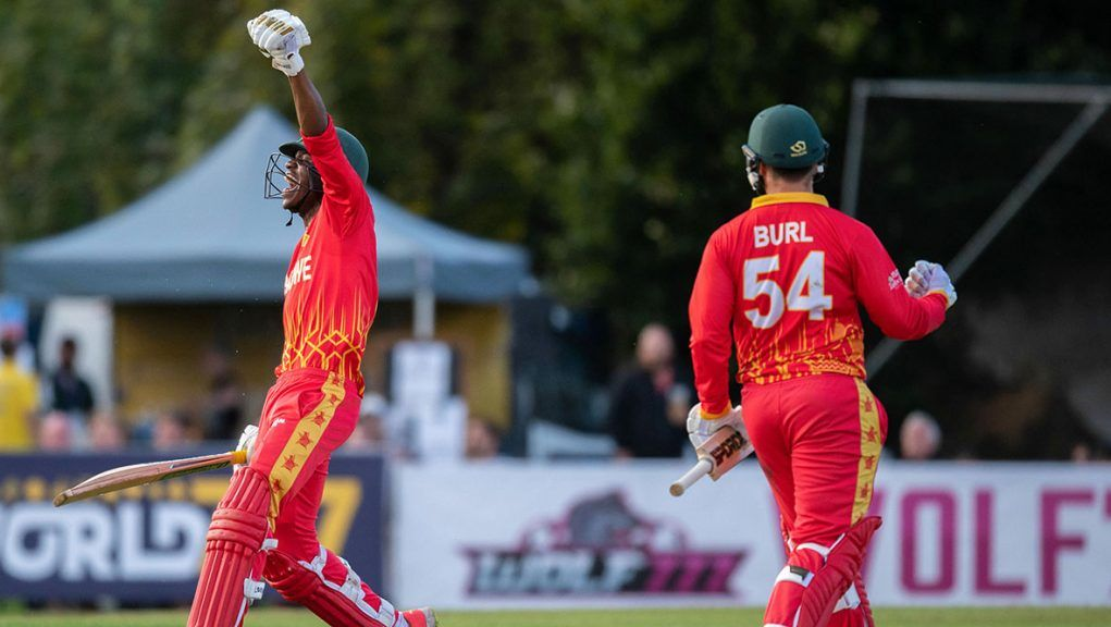 Milton Shumba celebrates Zimbabwe's win at the Grange in Edinburgh.