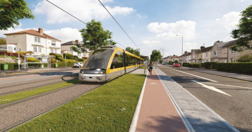 A render of the proposed Glasgow Metro.
