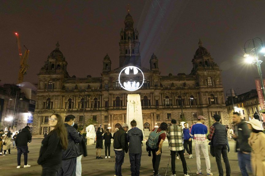 The stunt took place in the city's George Square on Saturday night.