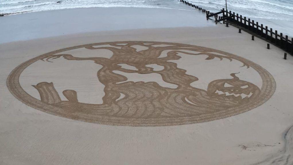 Halloween: Creepy sand art appears on Aberdeen beach.