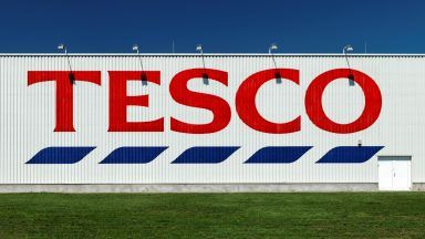 Stock image of Tesco sign.