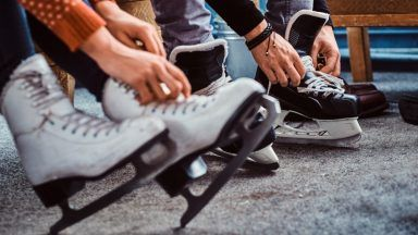 Stock image of ice skates.