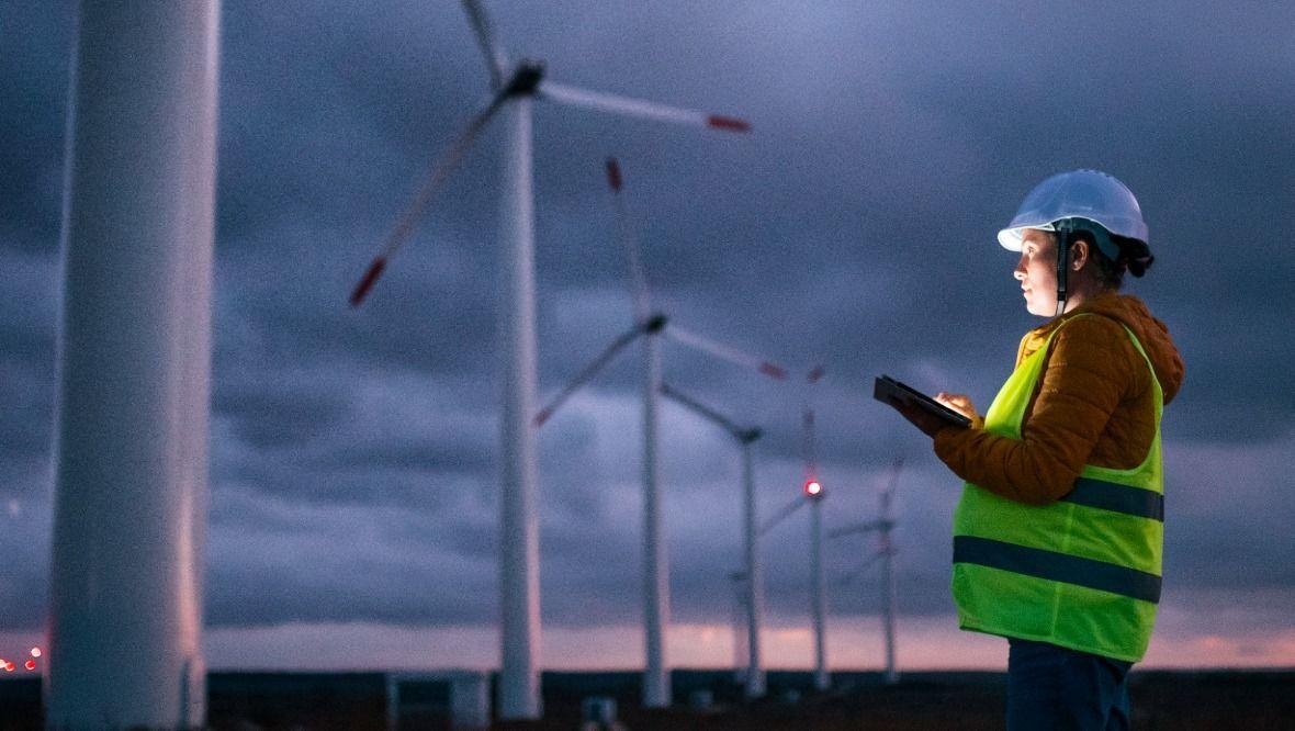 Stock image of windfarm.