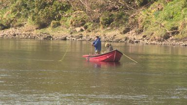 Salmon fishing on the River Tay.