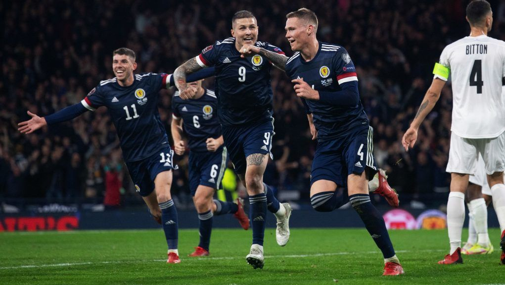 GLASGOW, SCOTLAND - OCTOBER 09: Scotland's Scott McTominay celebrates after scoring to make it 3-2. during a FIFA World Cup Qualifier between Scotland and Israel at Hampden Park, on October 09 , 2021, in Glasgow, Scotland. (Photo by Craig Foy / SNS Group)